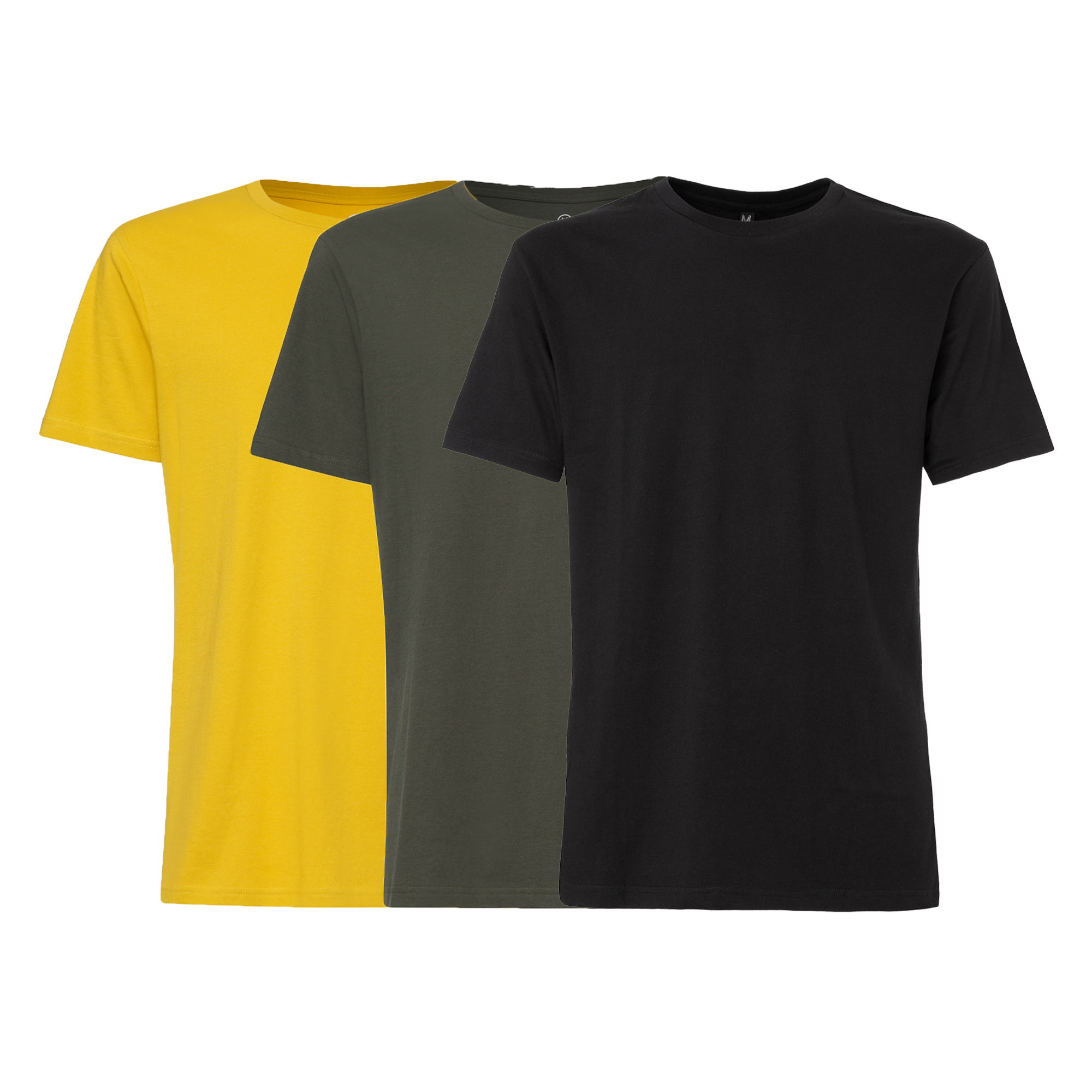 3er Pack TT02 T-Shirt Sulphur/Moss/Black GOTS & Fairtrade