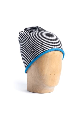 ThokkThokk TT102 Beanie Black/White Striped/Blue made of organic cotton // Organic & Fair