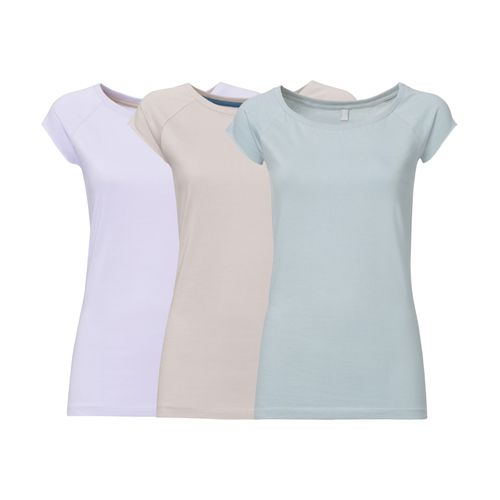 ThokkThokk 3 Pack TT01 Cap Sleeve T-Shirt 2.0 Damen Lilac/Light Grey/Light Blue made of organic cotton // Organic and Fairtrade certified