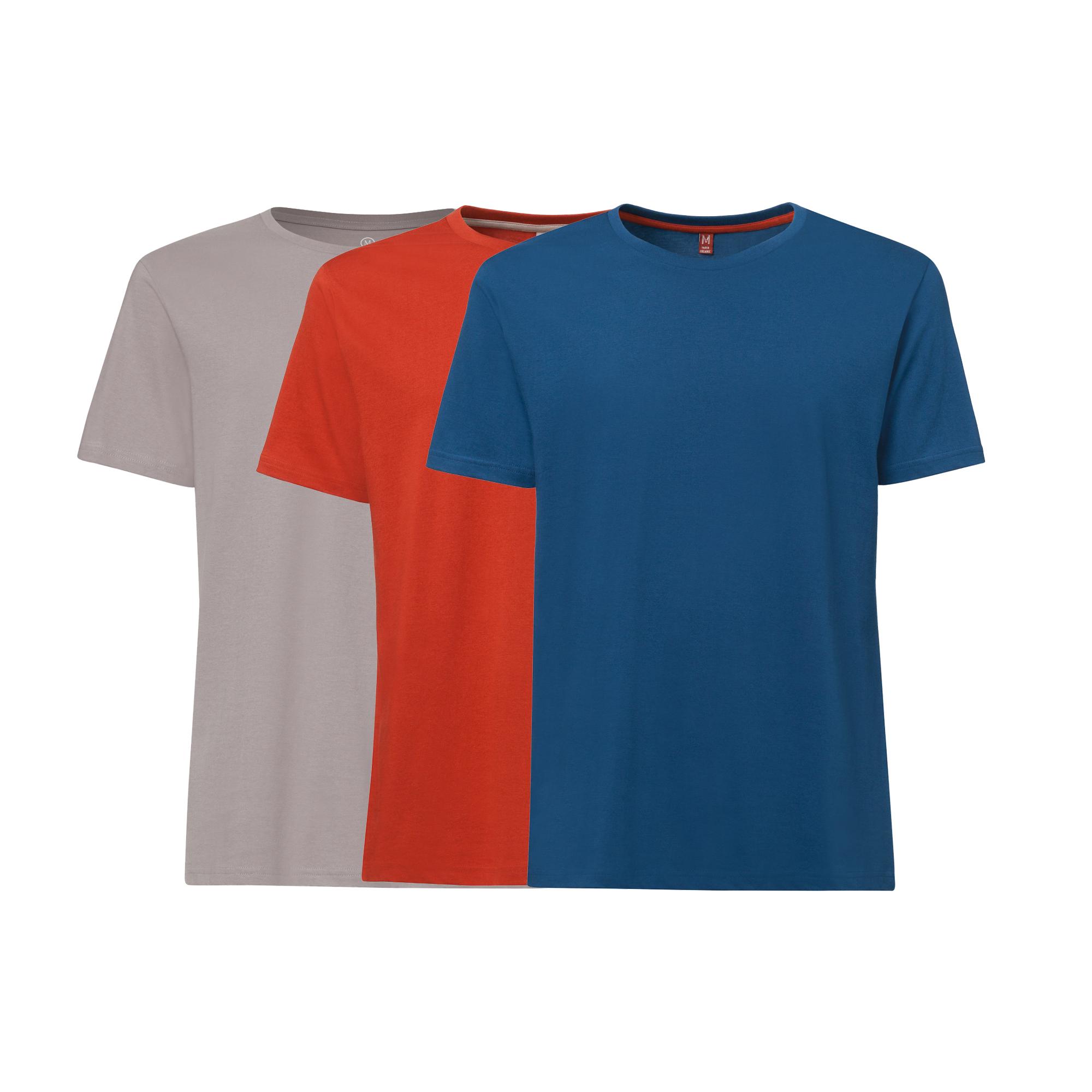 3er Pack TT02 T-Shirt Grey/Foxy/Peacock GOTS & Fairtrade