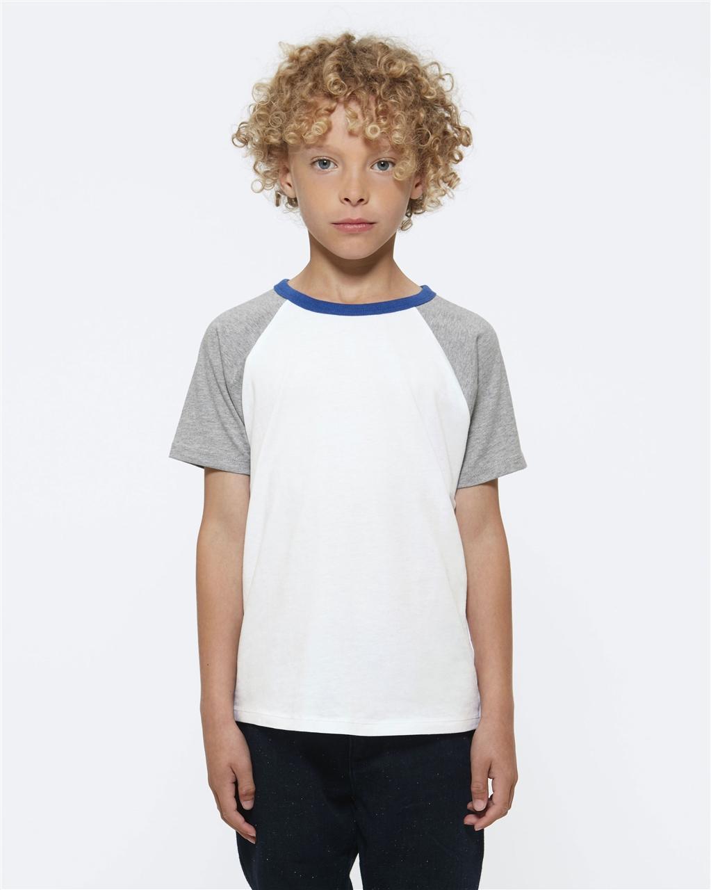 Raglan T-Shirt White Grey Blue