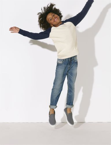 ThokkThokk Kids Raglan Sweatshirt White/Dark blue made of organic cotton // Organic and Fair
