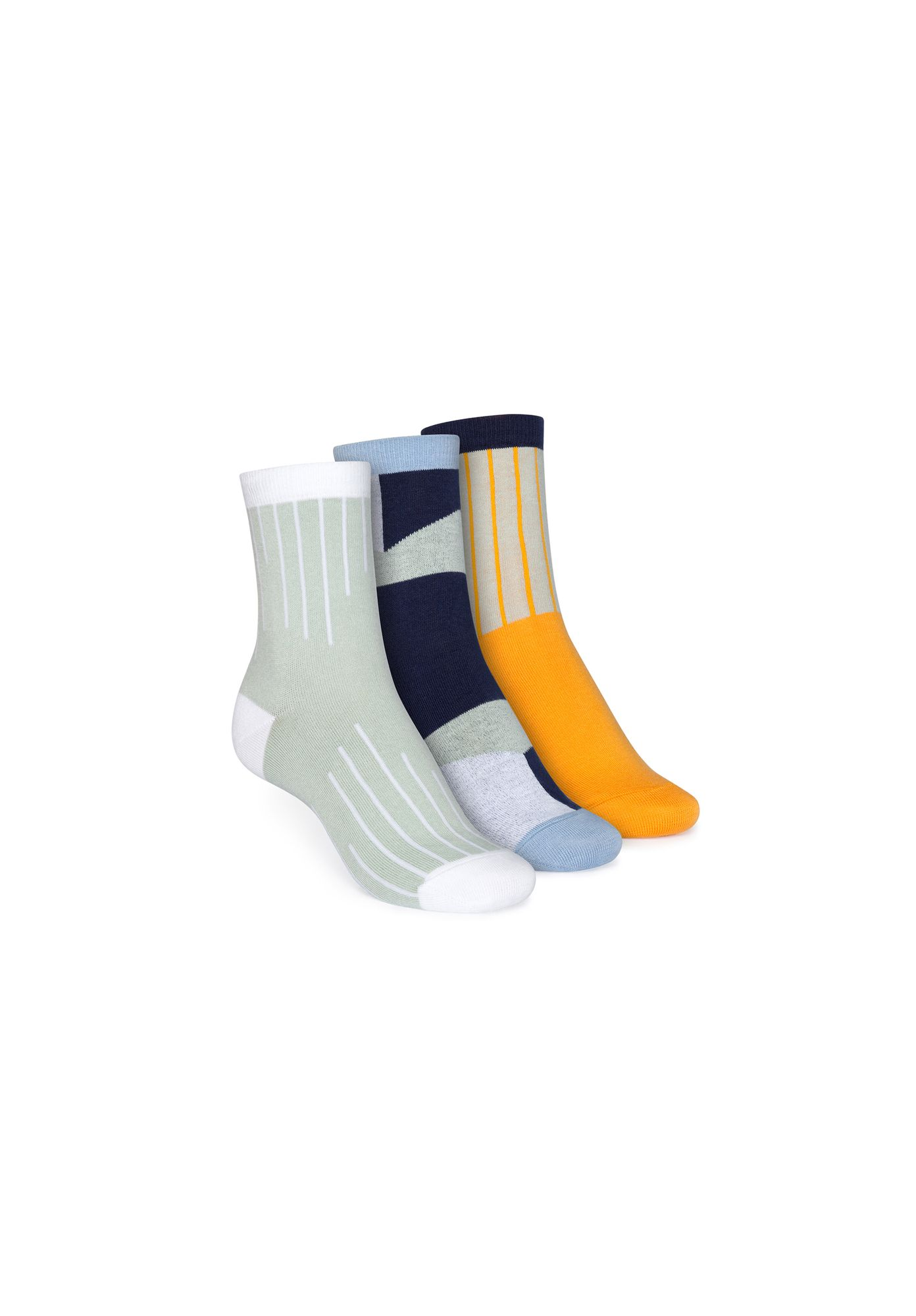 3 Pack Mid-Top Socks Colour Grading/Geometric/Vertical
