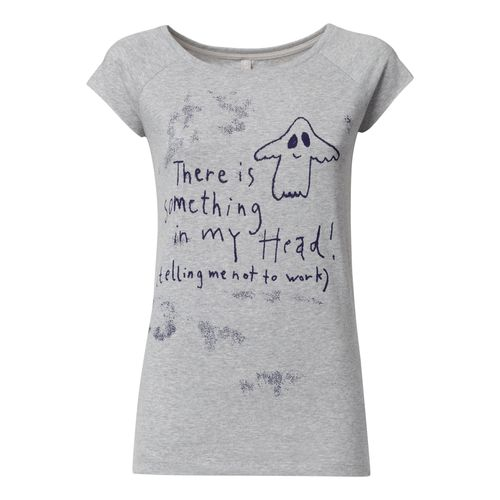 FellHerz Women T-Shirt Something In My Head Grey Organic