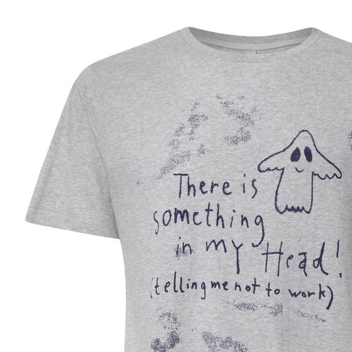 FellHerz Men T-Shirt Something In My Head Grey Organic Fair