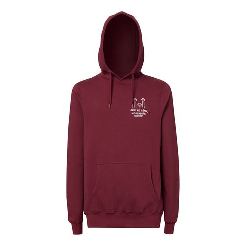 Peter Phobia Hoch Die Hände Hoodie Man white/dark red made of Organic Cotton // Organic and Fair