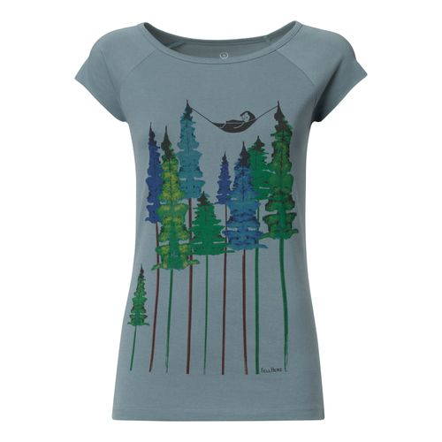 FellHerz Wood Cap Sleeve T-Shirt Woman light blue made of organic cotton // Organic and Fair