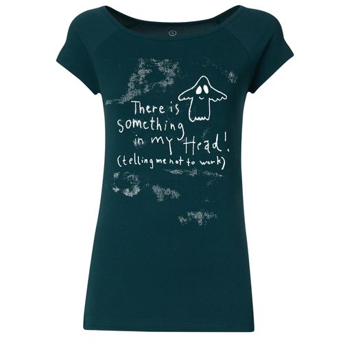 FellHerz Women T-Shirt Something In My Head Teal Organic
