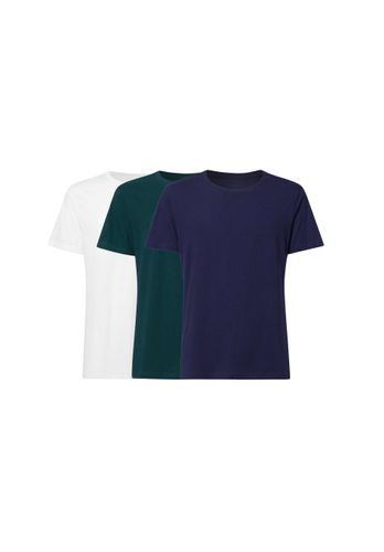 ThokkThokk Men T-Shirt White Teal Blue 3 Pack Organic Fair