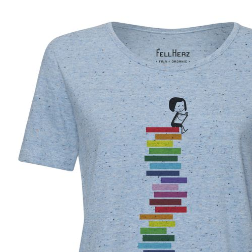 FellHerz Damen T-Shirt Books Hellblau Bio Fair
