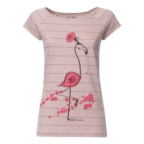 FellHerz Women T-Shirt Flamingo Rose Organic Fair