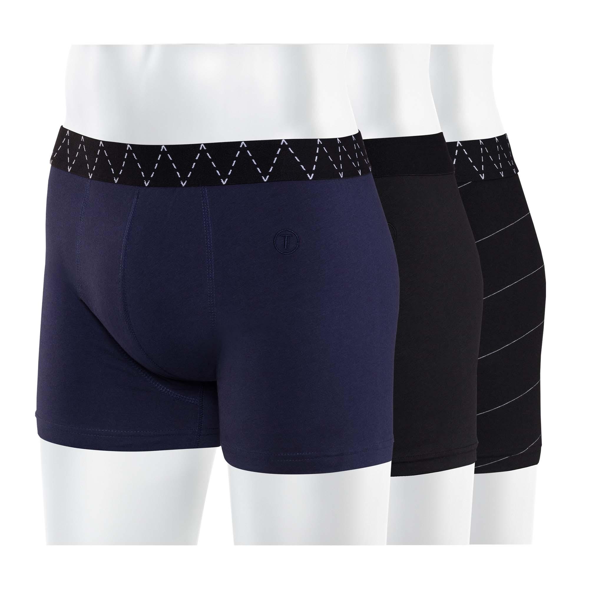 3er Pack TT15 Boxershorts Midnight/Black/Microstripes GOTS & Fairtrade