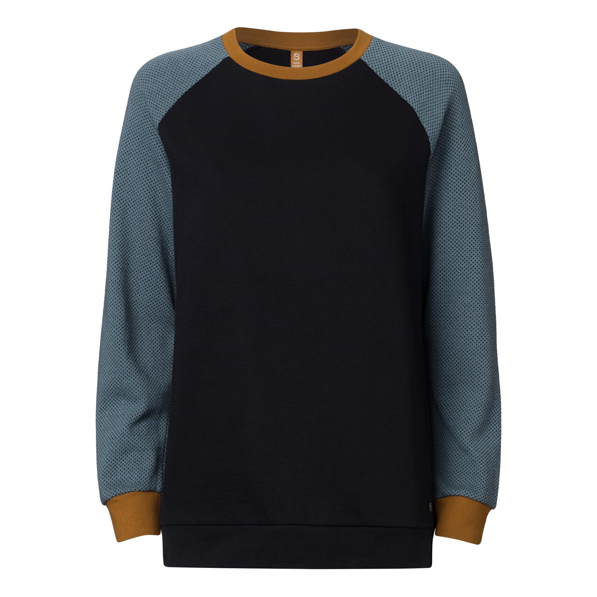 TT1037 Raglan Sweater Woman Black/Iceblue GOTS & Fairtrade