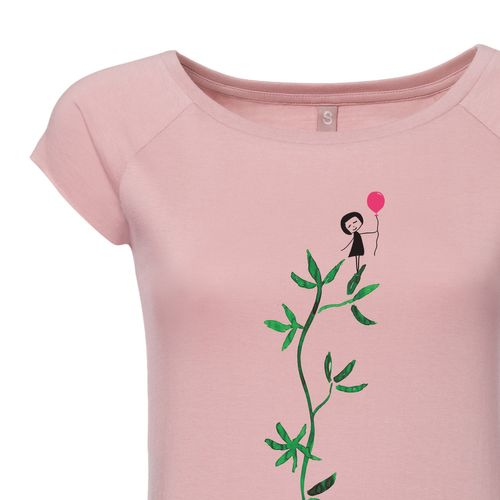 FellHerz Women T-Shirt Astmädchen Rose Organic Fair