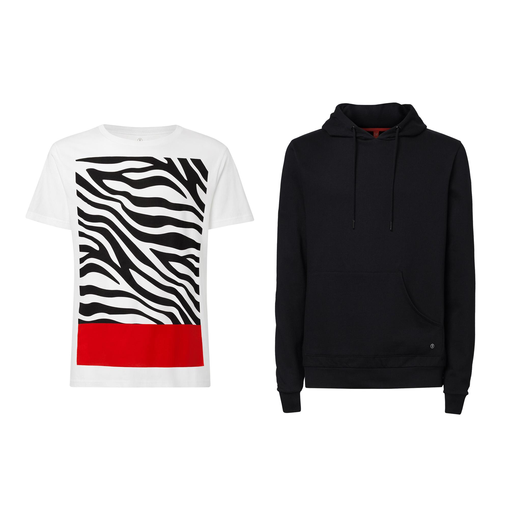 2 Pack Zebra18 T-Shirt white GOTS & Fairtrade // TT1024 Hoodie Unisex Black GOTS & Fairtrade