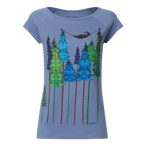 FellHerz Women T-Shirt Wood Grey Blue Organic Fair