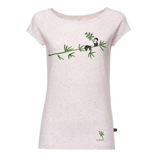 FellHerz Damen T-Shirt Faultier Weiß Gepunktet Bio Fair