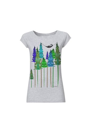 FellHerz Damen T-Shirt Wood Girl Hellgrau Meliert Bio Fair