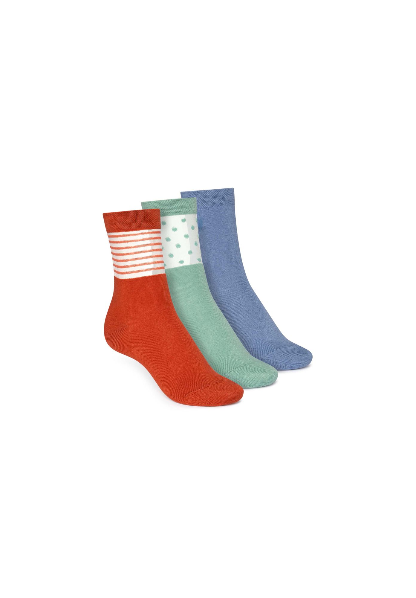 3 Pack Mid Socks Ironblue/Cabbage Dots/Tangerine Stripes