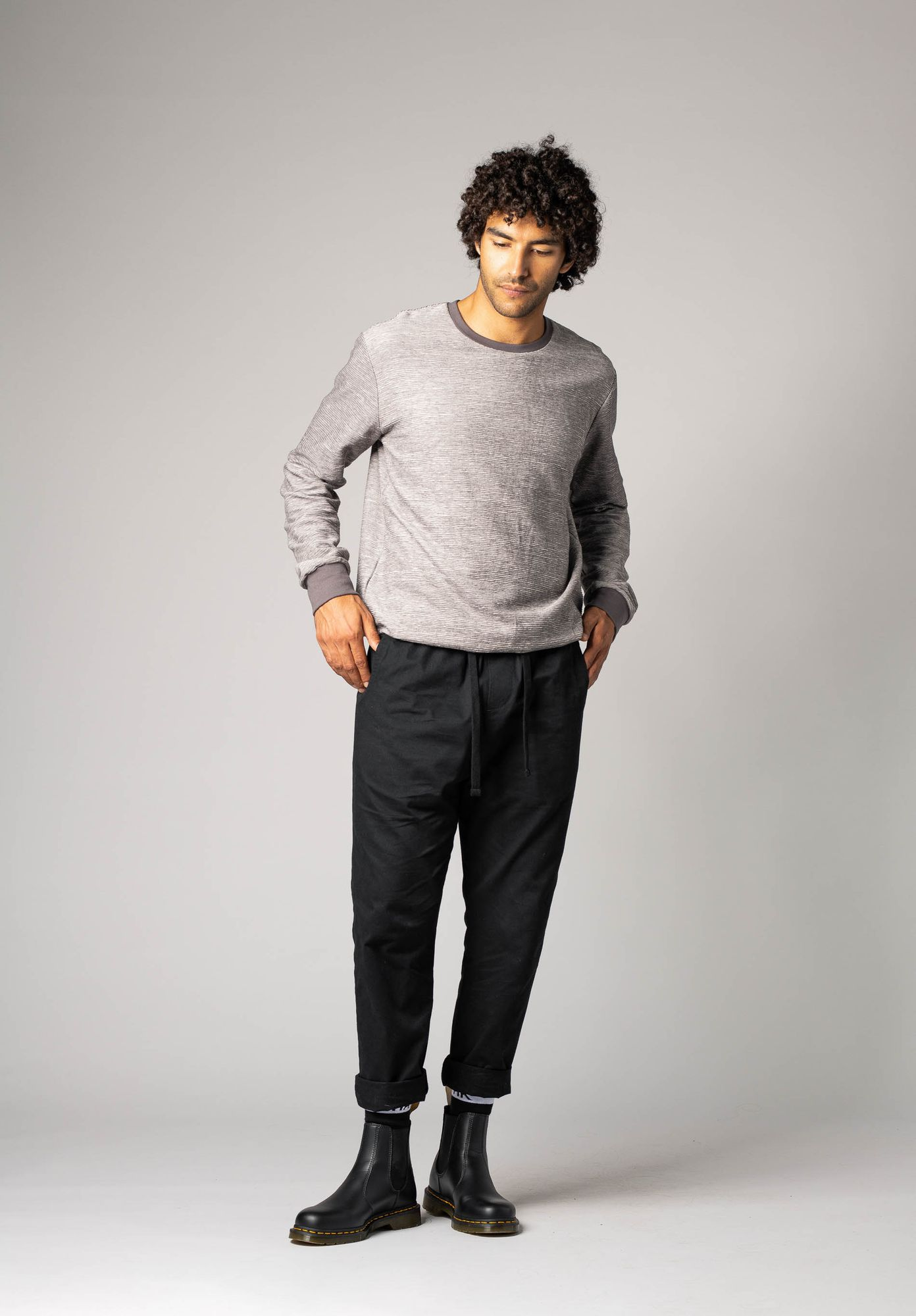 TT38 Pants Man Herringbone/Black GOTS & Fairtrade
