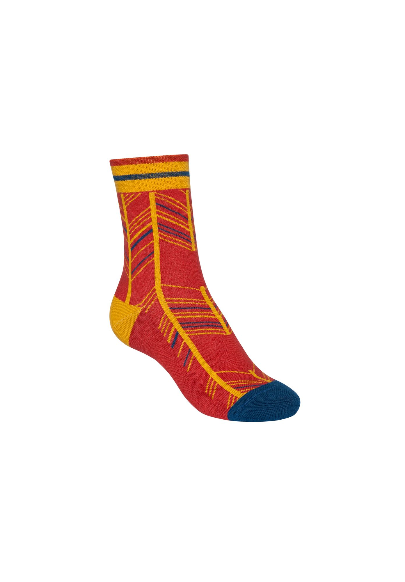 Fancy Herringbone Terry Mid Socks Brick Red