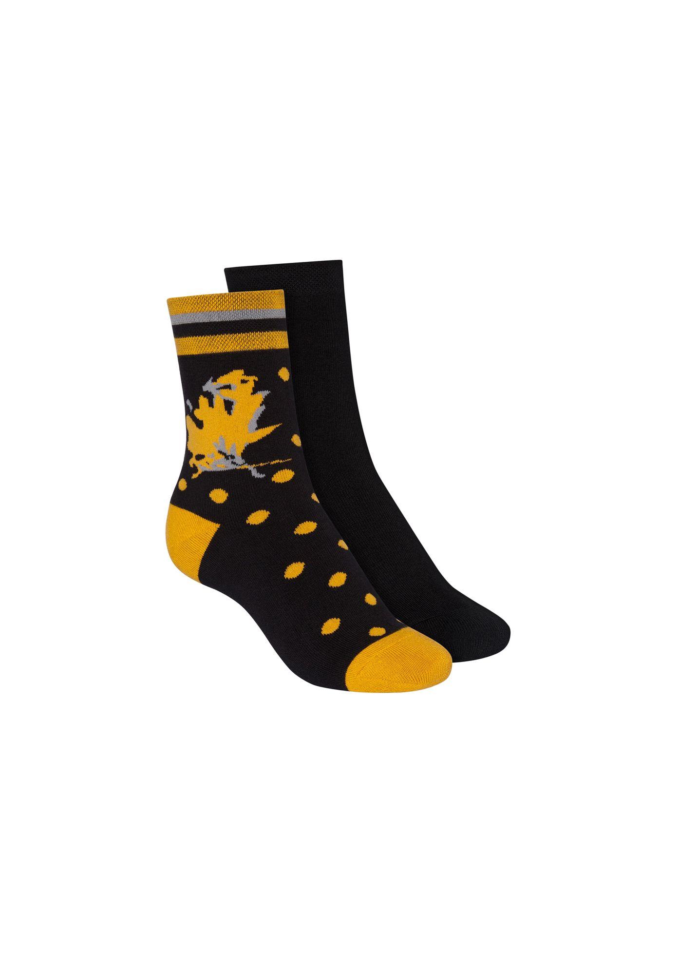 2 Pack Terry Mid Socks Black/Indian Summer Black