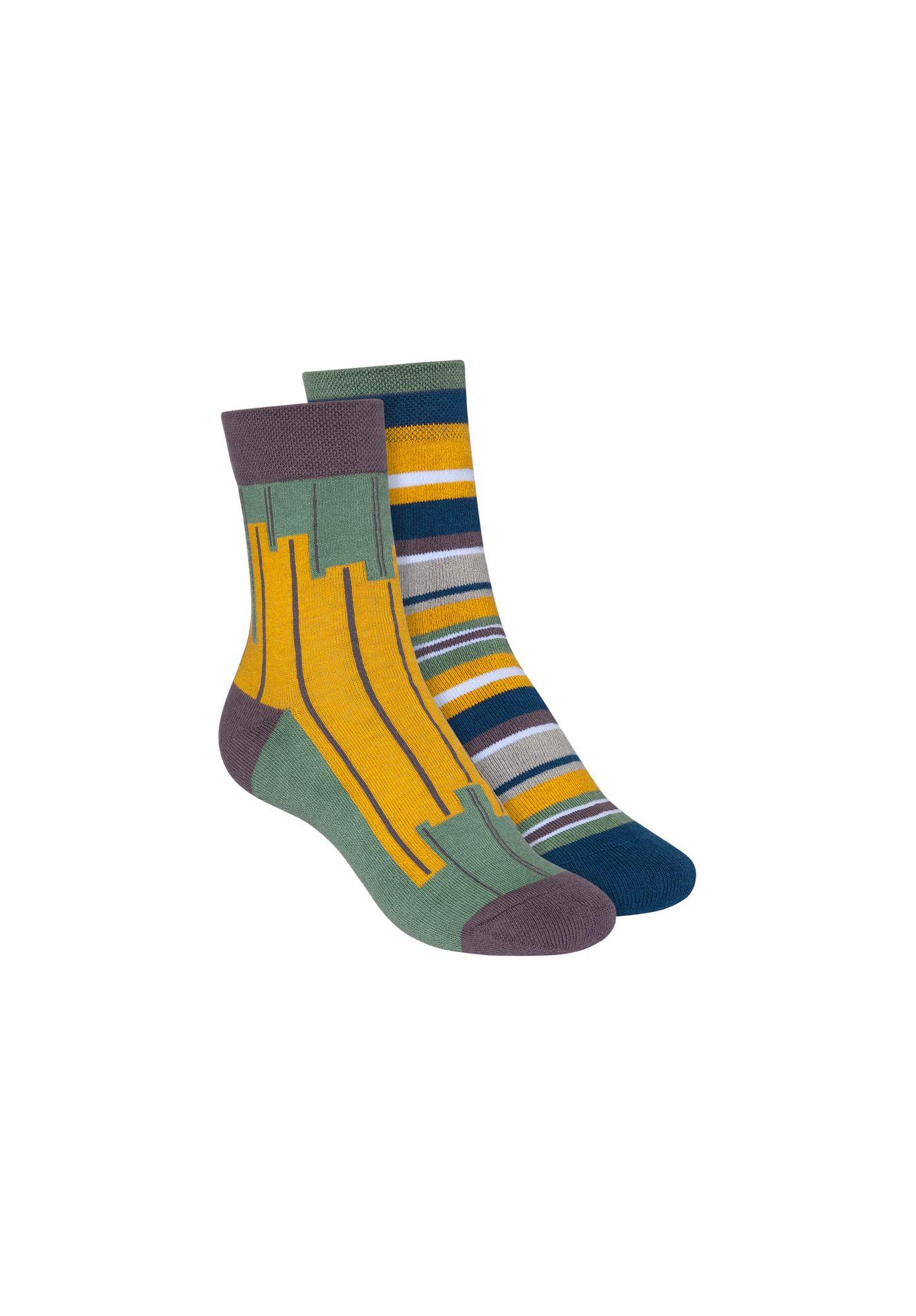 2 Pack Terry Mid Socks Stripes Ink Blue/Skyline Jade