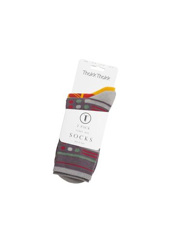 ThokkThokk Socks Terry Mid Red Dark Grey 2 Pack Organic Fair