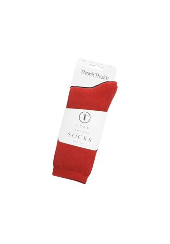 ThokkThokk Socks Terry High Black Red 2 Pack Organic Fair