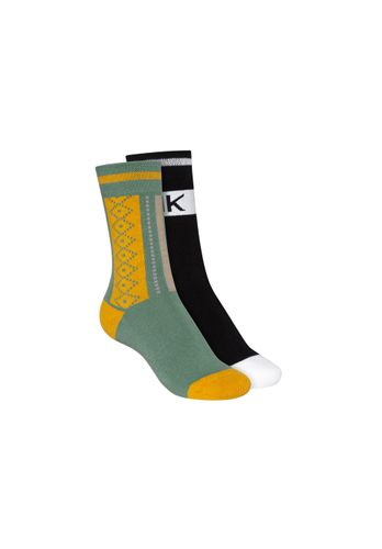 ThokkThokk Socks Terry High Black Green 2 Pack Organic Fair