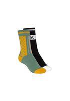 2 Pack Terry High Socks THK Black/Jacquard Jade