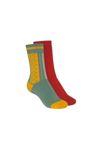ThokkThokk Socken Terry Hoch Rot Grün 2er Pack Bio Fair