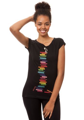 FellHerz Damen T-Shirt Books Girl Schwarz Bio Fair