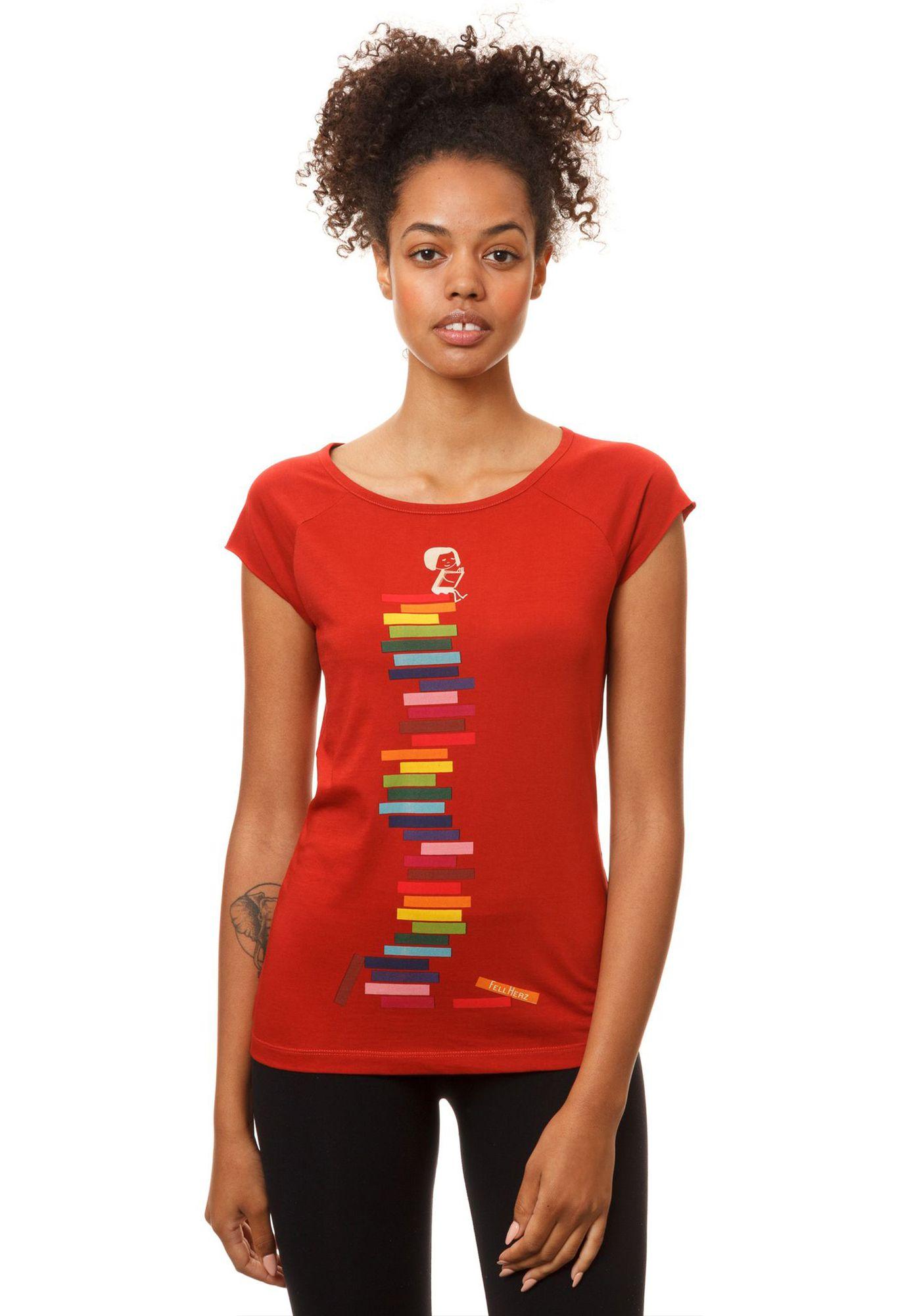 Cap Sleeve Books Girl Brick Red