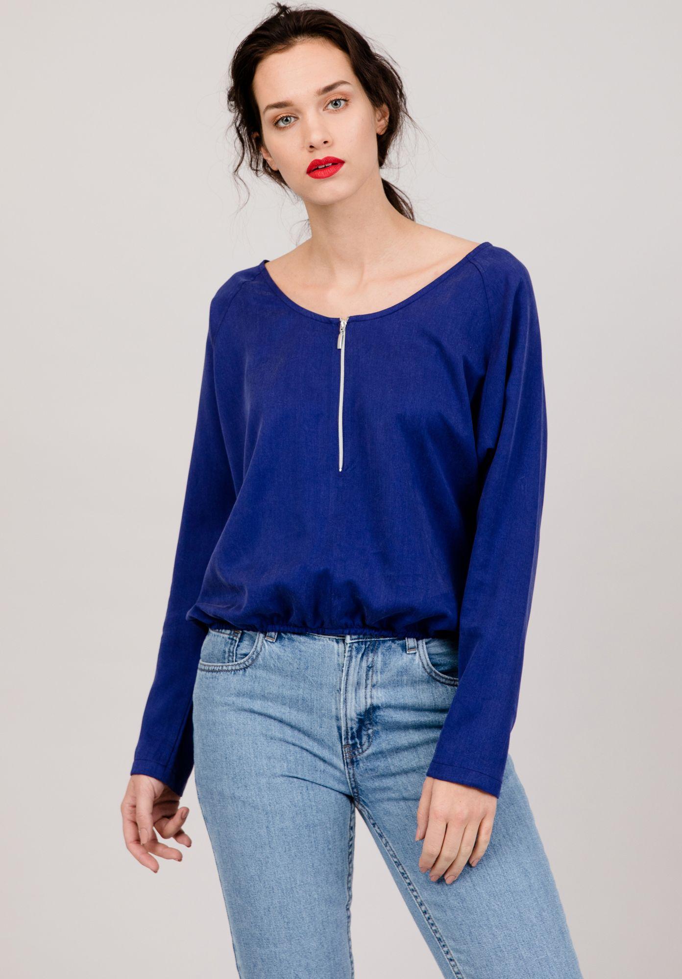 LOVJOI Damen Bluse PONDWEED Blau Nachhaltig Fair