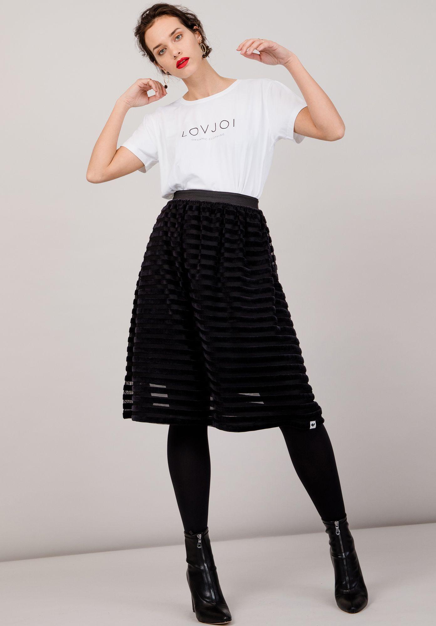Skirt WATERLILY Velvet Stripes Black