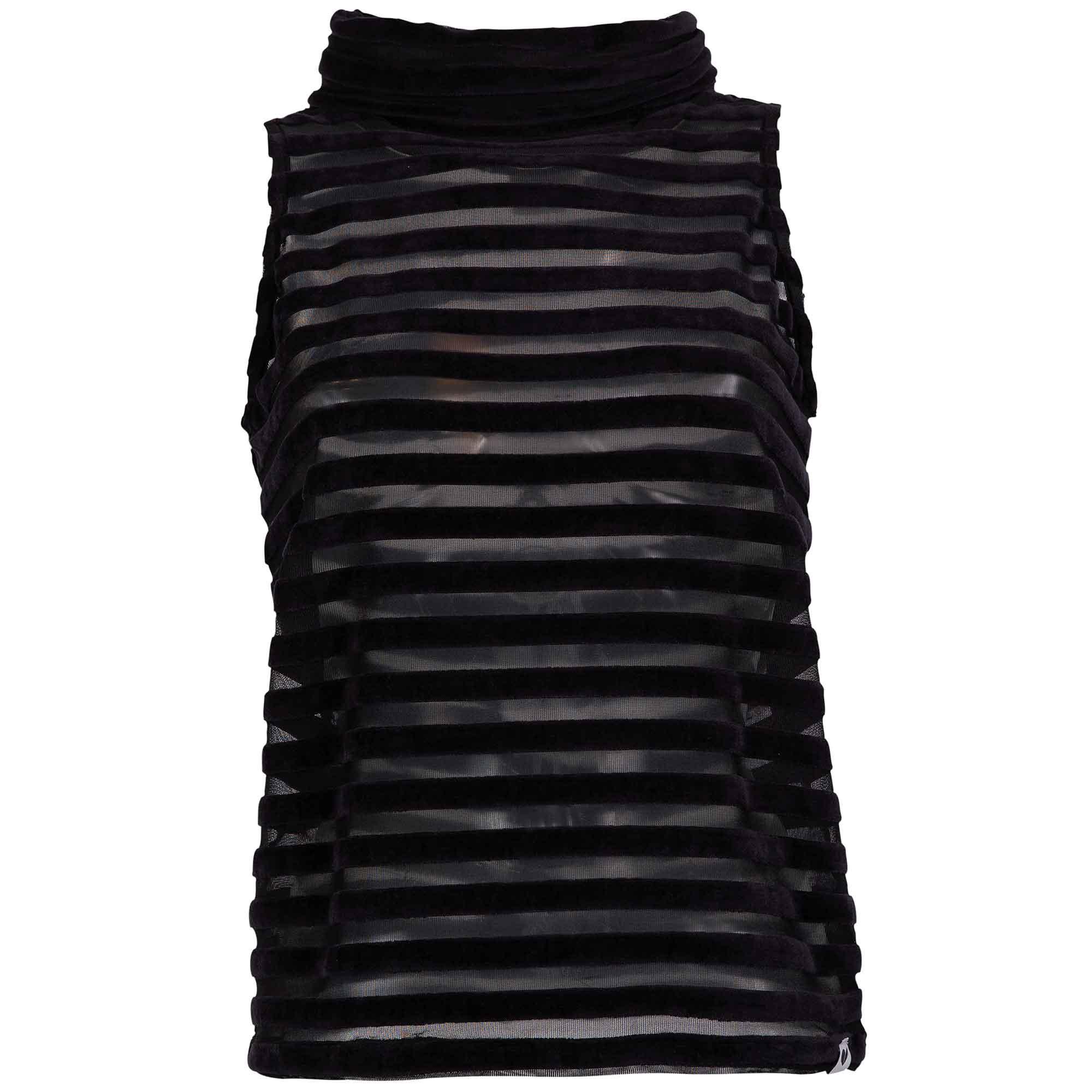 LOVJOI FEATHERFOIL Top Velvet Stripes Black Organic & Fair