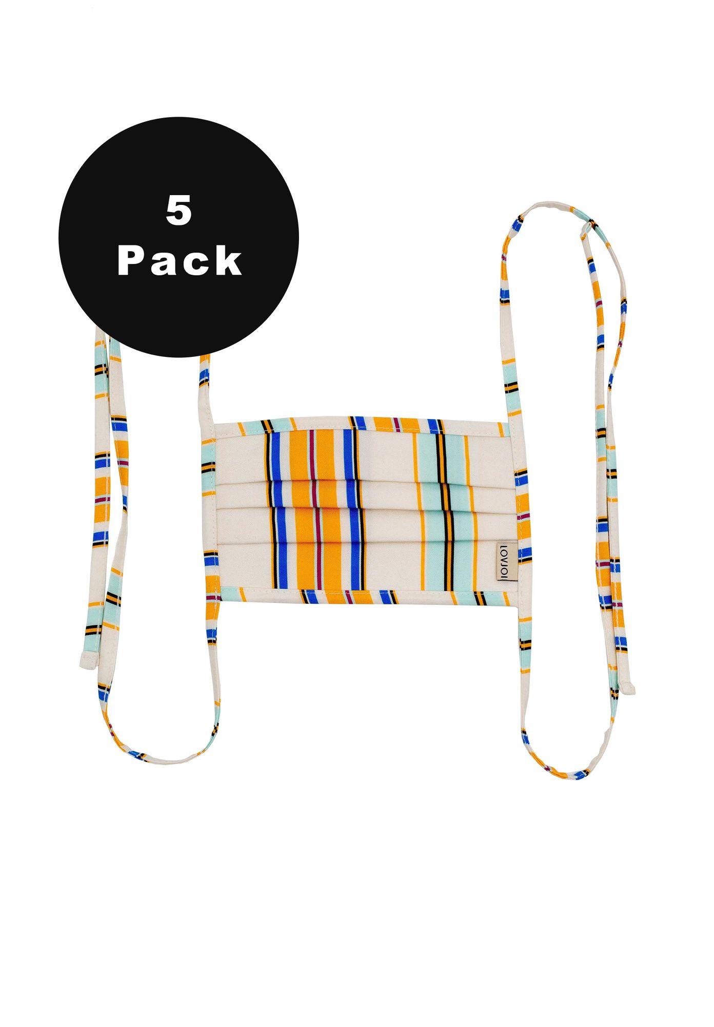 5er Pack Behelfsmundschutz SALUTA Stripe