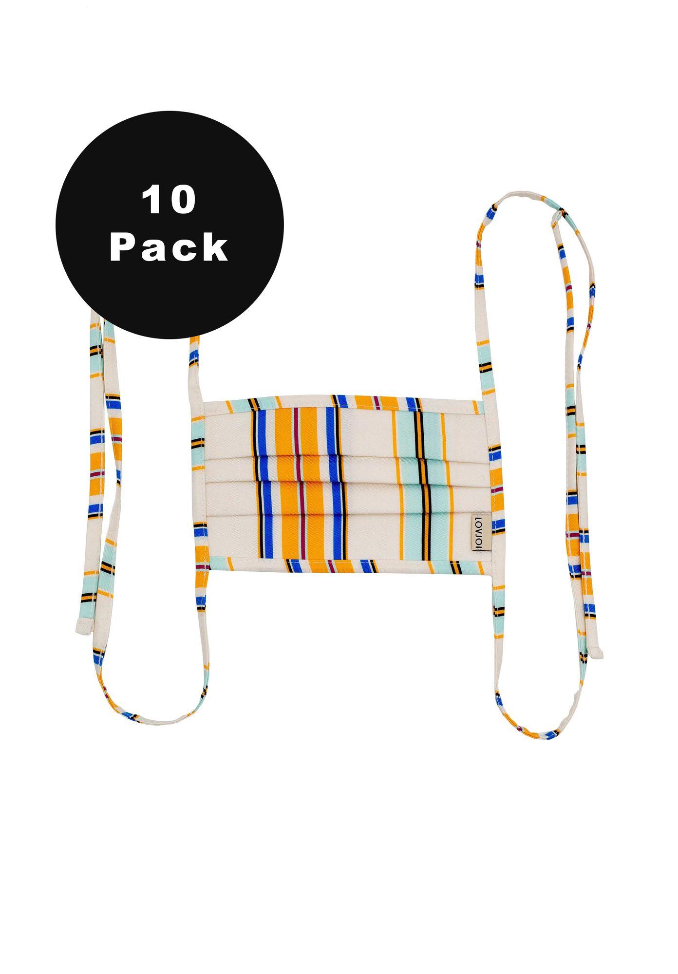 10er Pack Behelfsmundschutz SALUTA Stripe