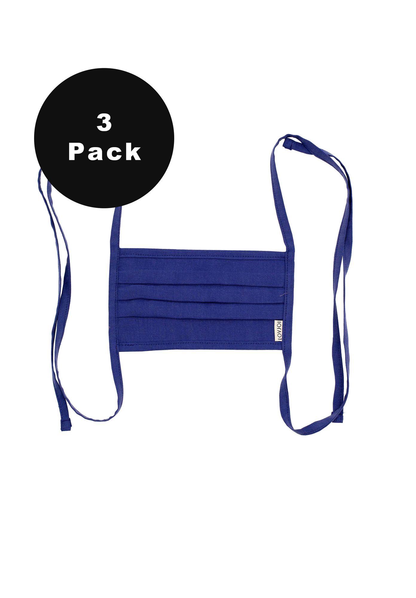 3er Pack Behelfsmundschutz SALUTA Electric Blue