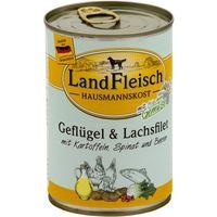 LandFleisch Hausmannskost Geflügel und Lachsfilet mit Kartoffeln, Spinat und Beeren 400 g