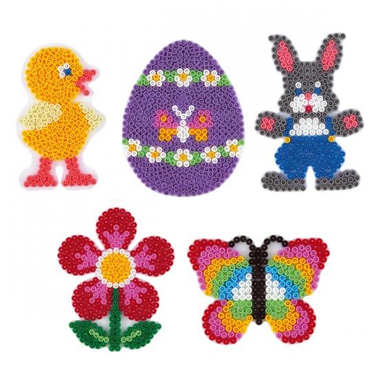Malheft HAMA Stiftplatten-Set midi Ostern Osterei Häschen Blume Küken