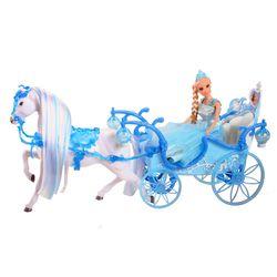 Amelia Eis-Prinzessin blaue Kristall-KUTSCHE mit Licht Pferd und Princess Puppe