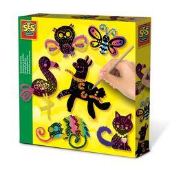 SES Creative 14006 Bastel-Set Kreativ-Packung SCRATCH ART Tier-Kratzbilder