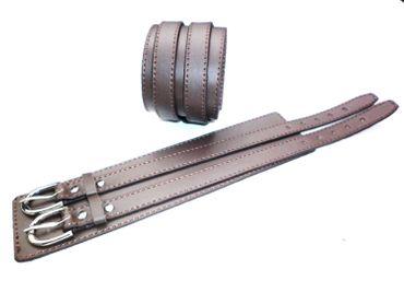 Lederarmband 2 Schnallen echtes Leder weich elegant braun Surfer Armband Nr37