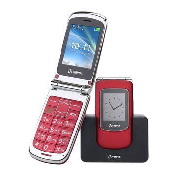 Senioren Handy OLYMPIA Style View rot große Tasten Mobiltelefon Ladeschale