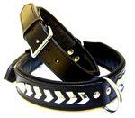 Hundehalsband Leder Black Star Hunde Halsband  schwarz Metall Verz. Größe M 001