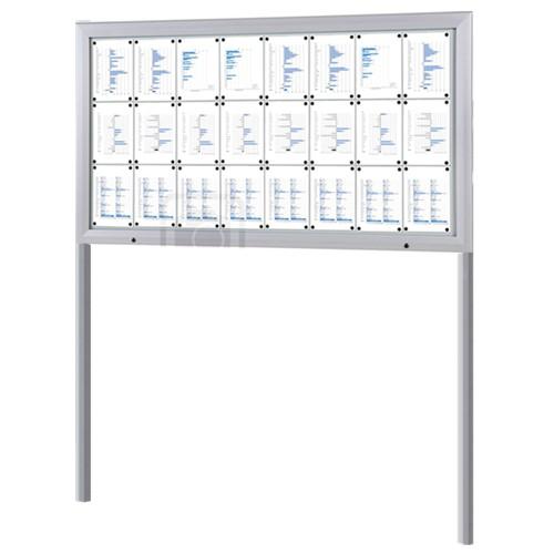 Schaukasten T-Line 24 x DIN A4 mit Ständern (Erdmontage)