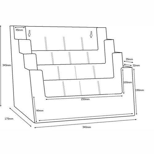 Stand-/Wandprospekthalter DIN A4/A5/lang vierstufig 4C330 (8) - Bild 3 (vergrößert)