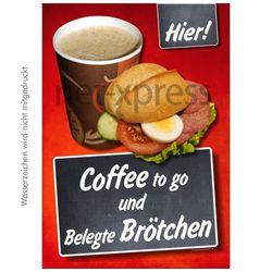 Plakat Coffee to go und belegte Brötchen